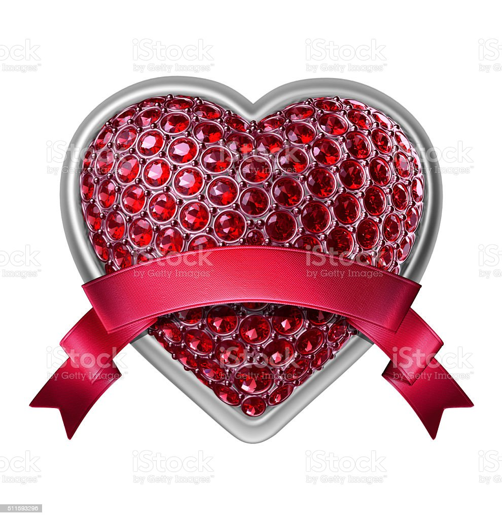 3d silver heart with ruby crystals and red ribbon tag stock photo