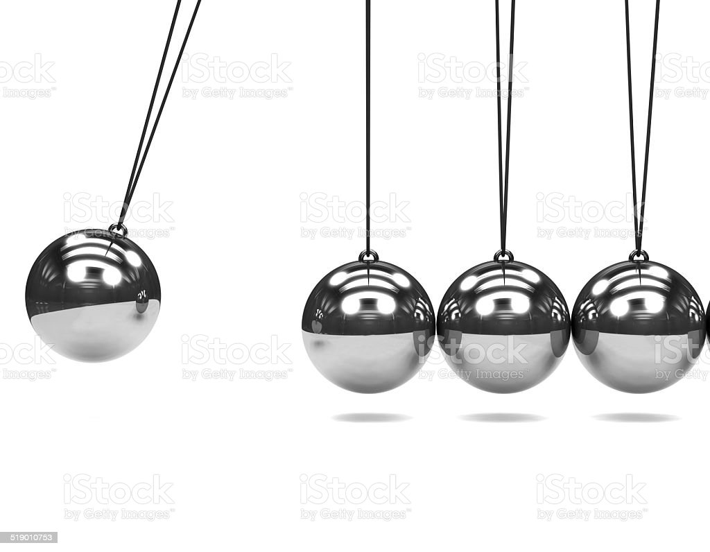 3d Silver Newtons Cradle stock photo