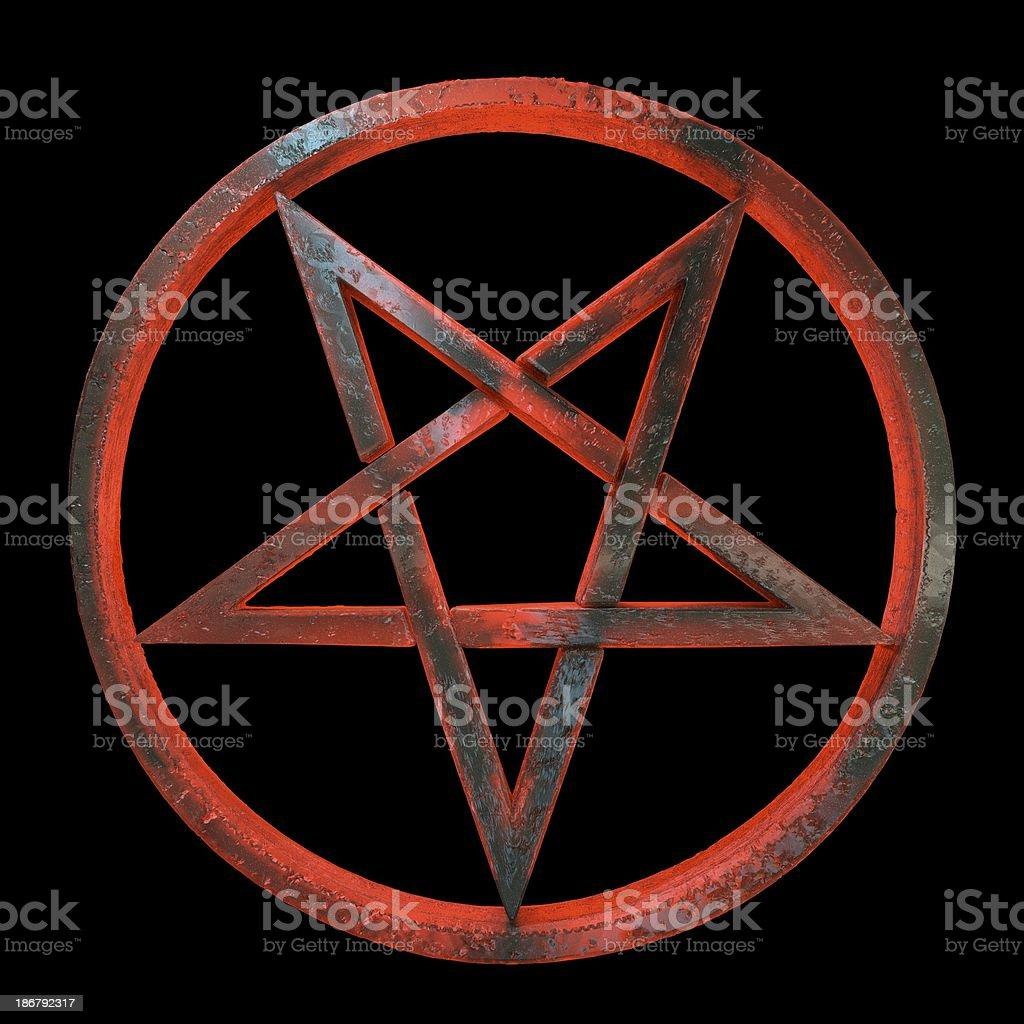 3d sinister inverted pentagram stock photo