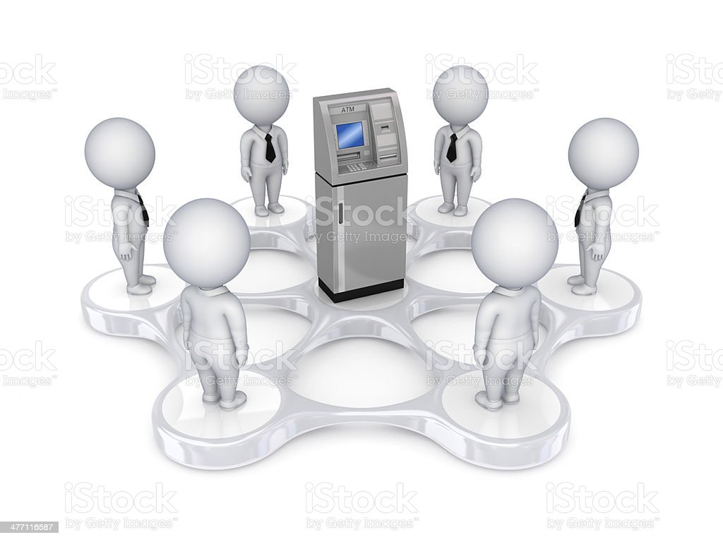 3d small people around ATM stock photo