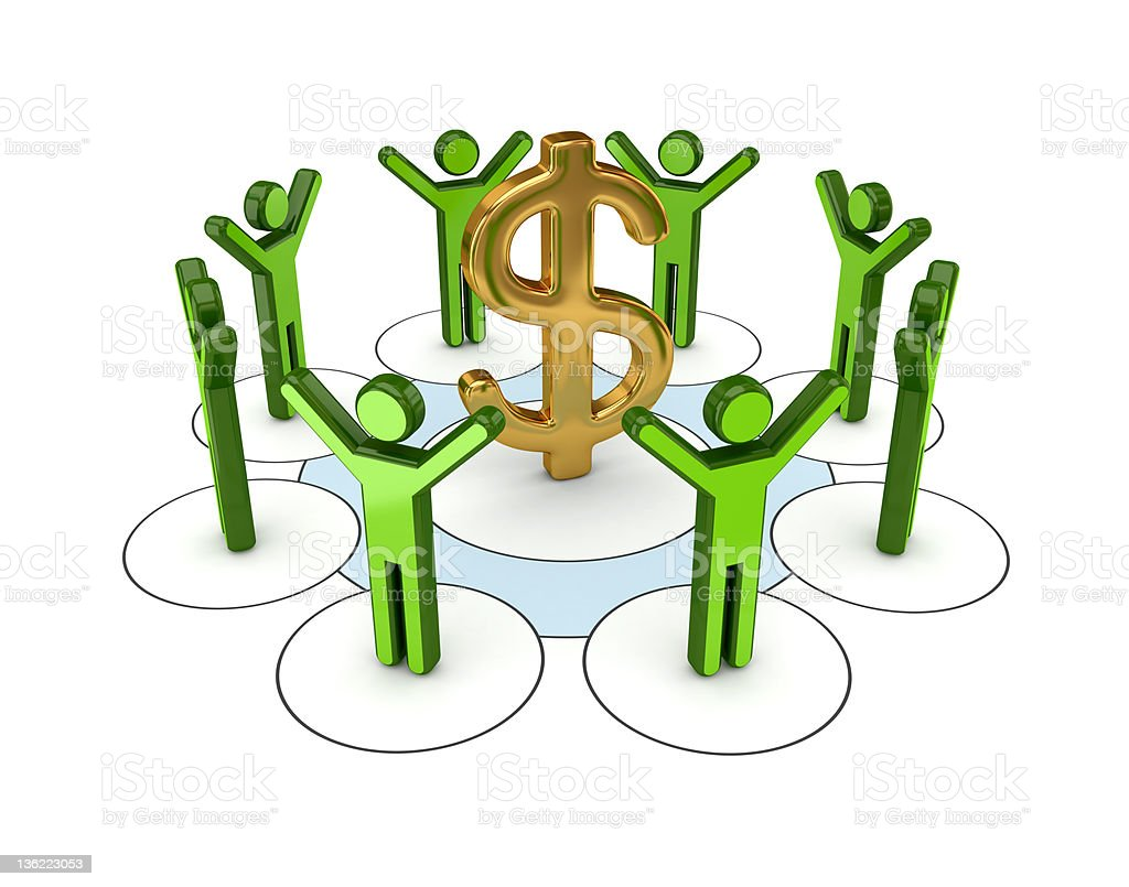 3d small people around golden dollar sign. royalty-free stock photo