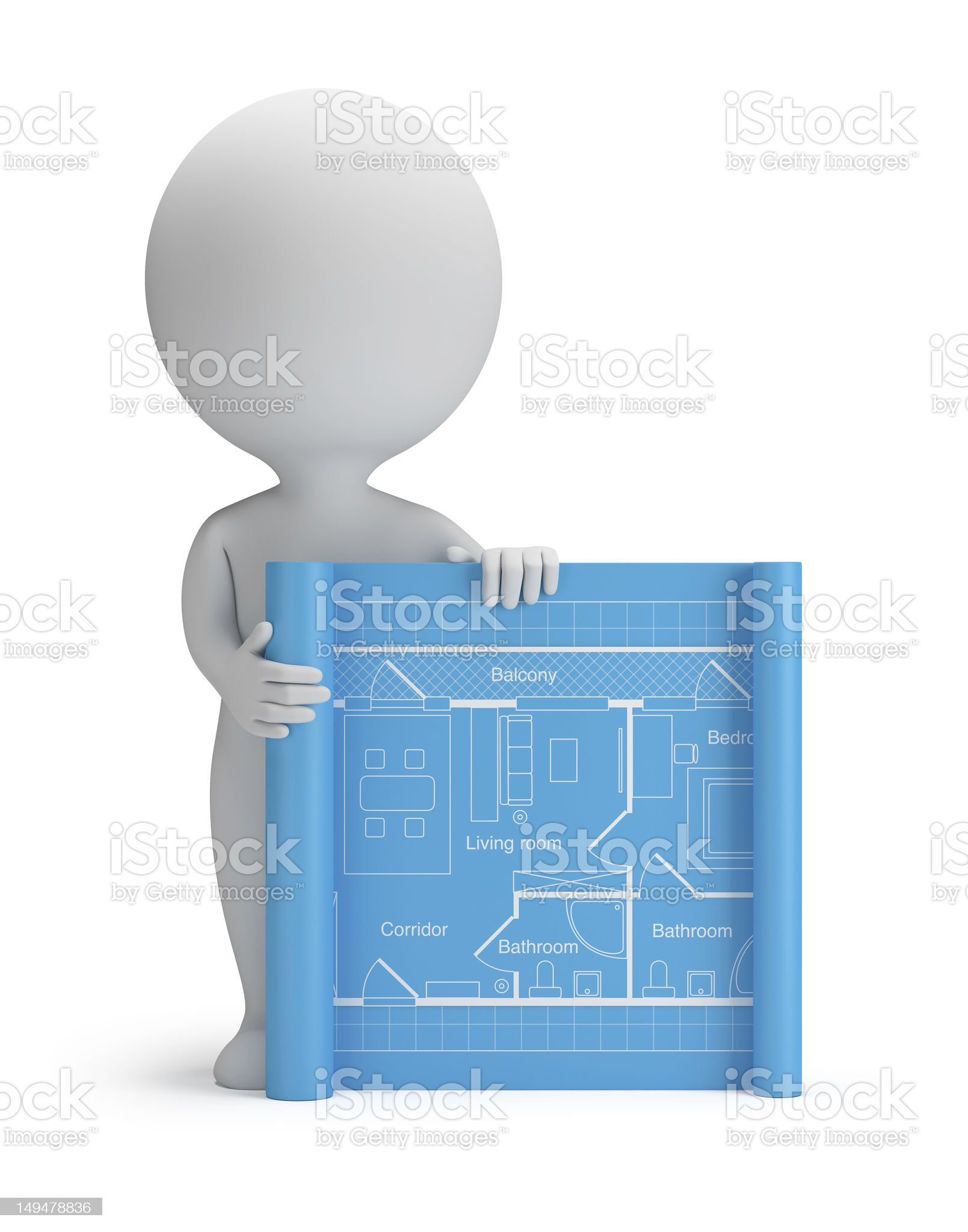 3d small people - blueprint royalty-free stock vector art