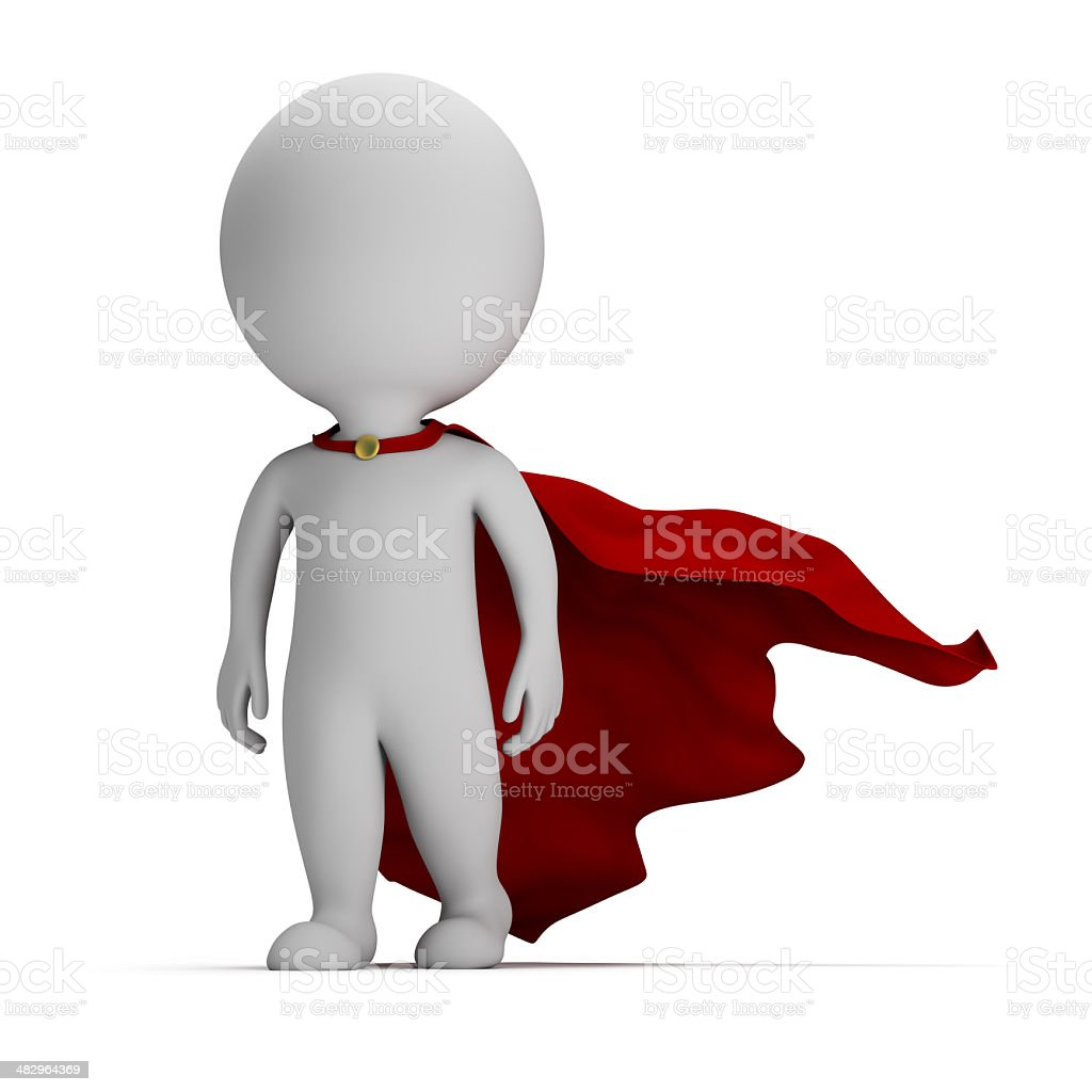 3d small people - brave superhero royalty-free stock photo