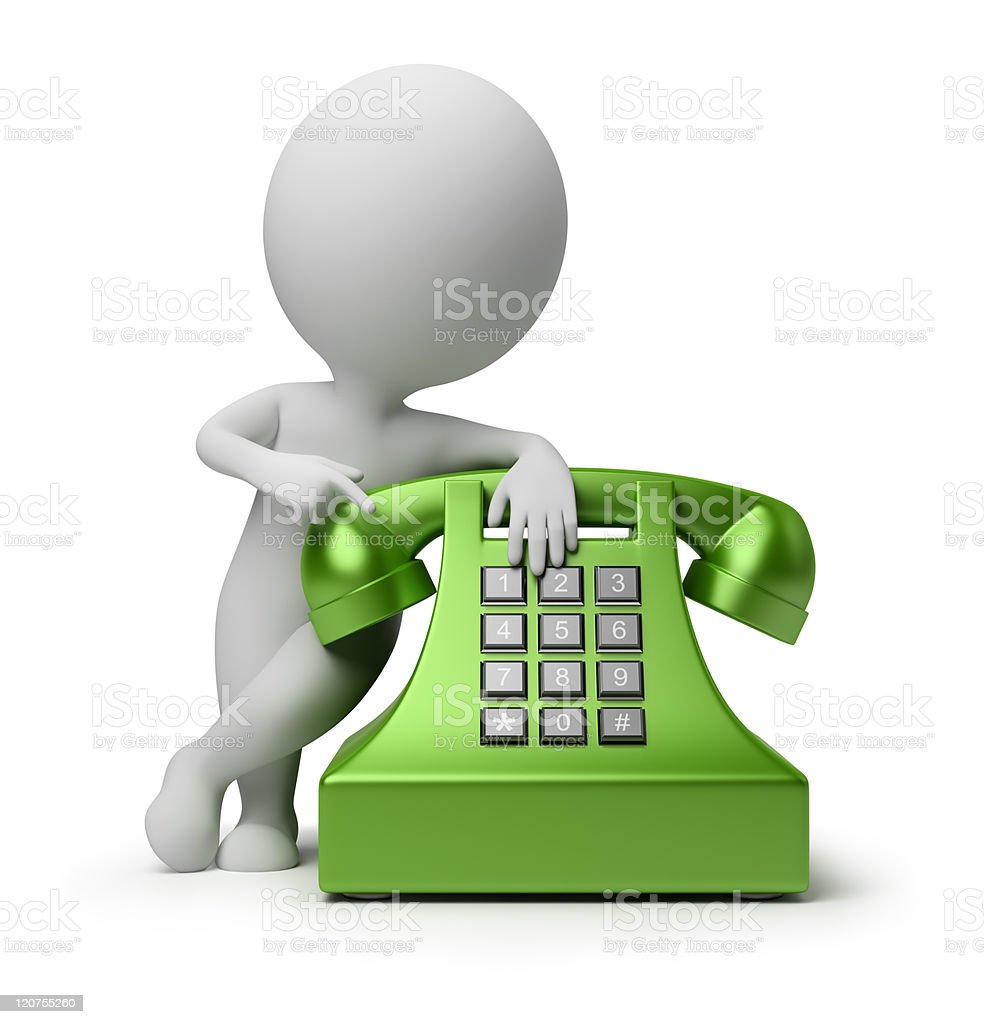 3d small people - call by telephone royalty-free stock photo