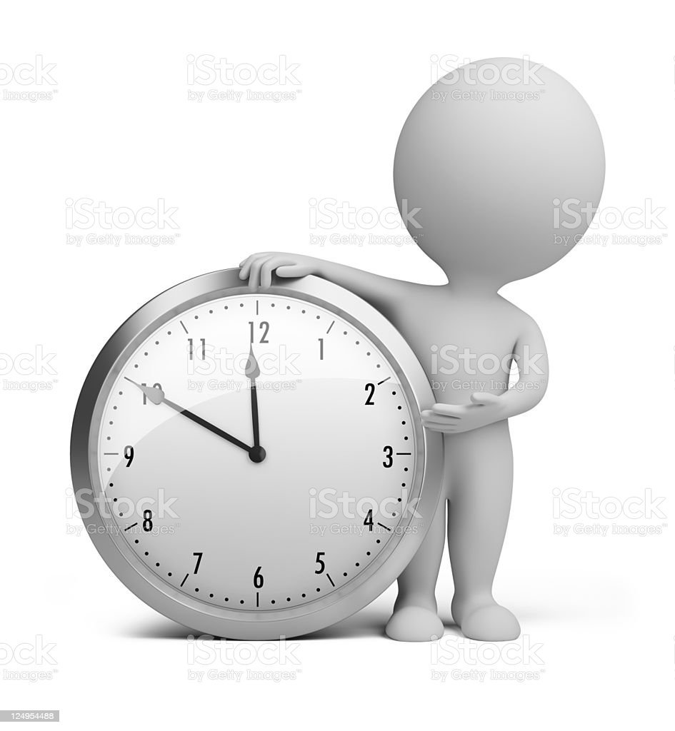3d small people - clock royalty-free stock photo