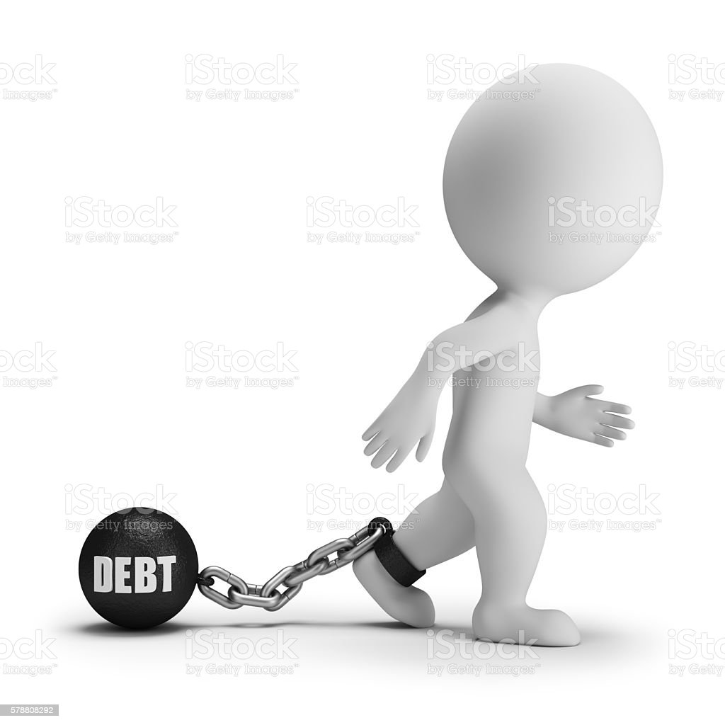 3d small people - debt stock photo