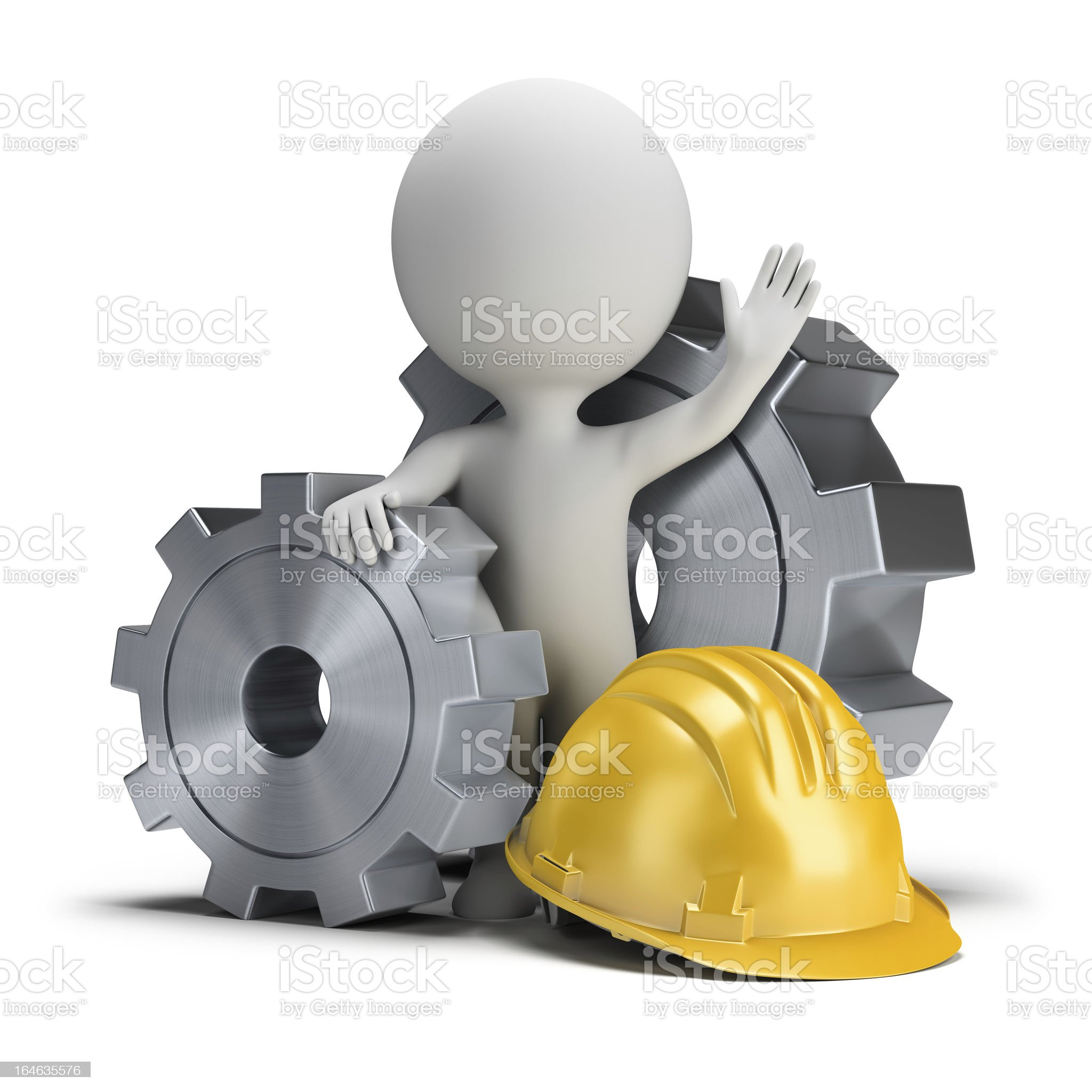 3d small people - gears and helmet royalty-free stock vector art