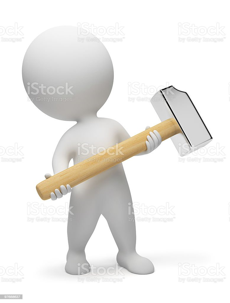 3d small people - hammer royalty-free stock photo