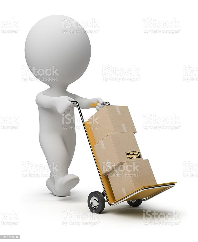 3d small people - hand truck stock photo