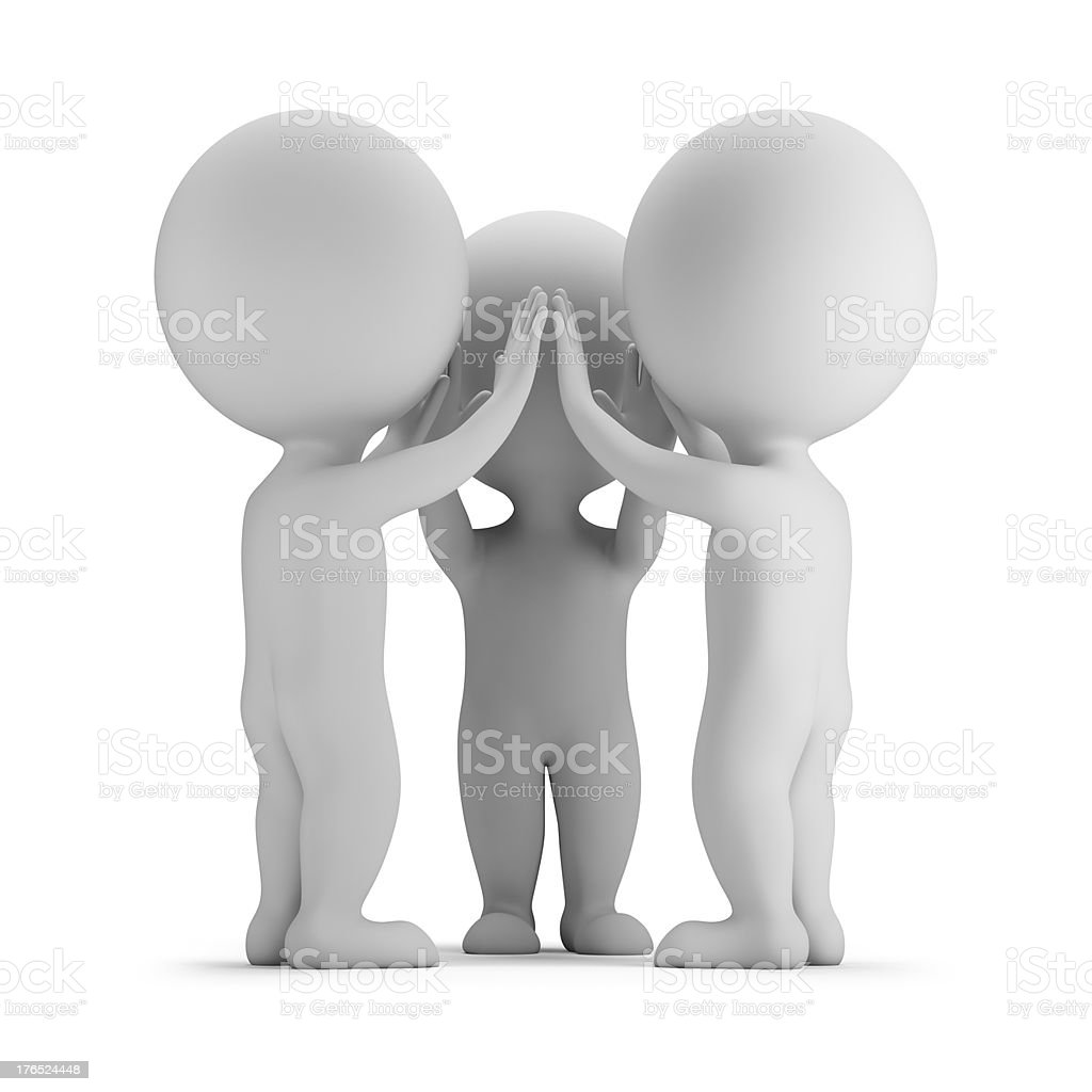 3d small people - high-five royalty-free stock photo
