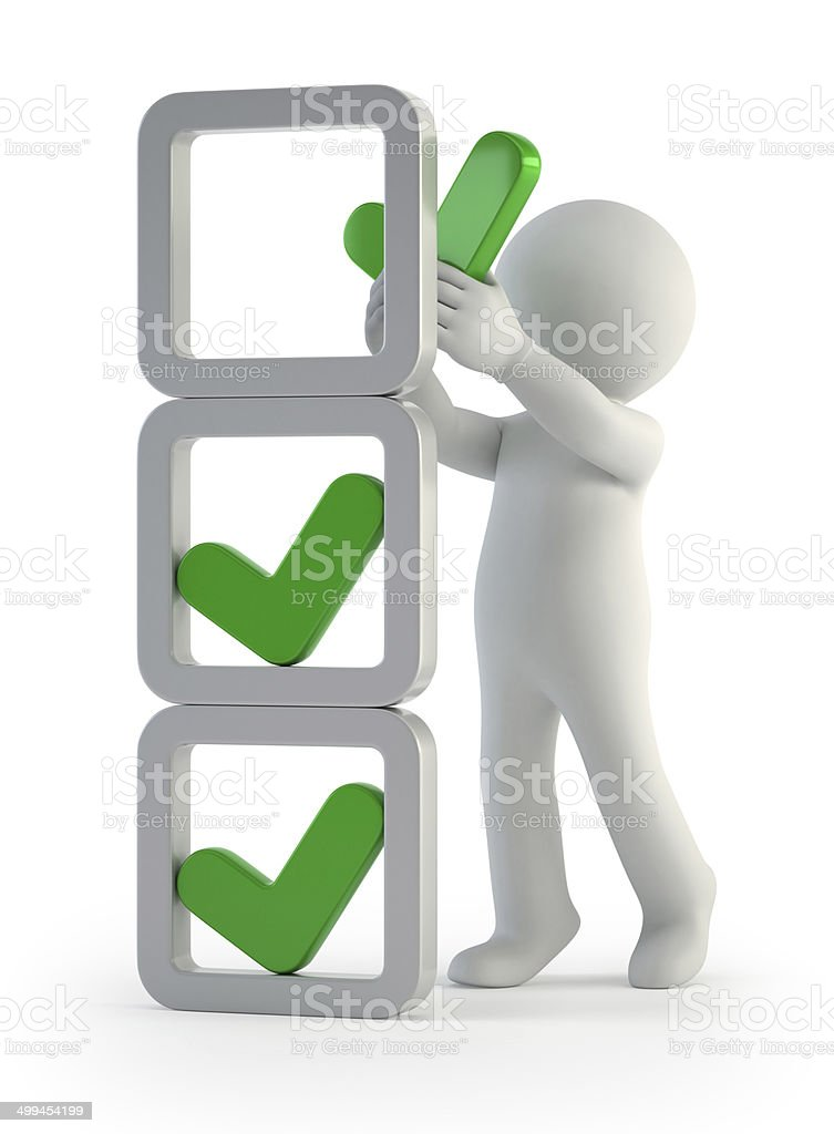 3d small people - installation of check marks stock photo