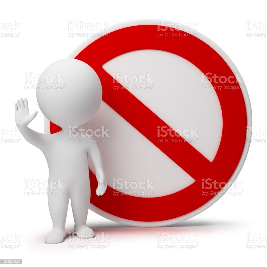 3d small people - interdiction sign stock photo