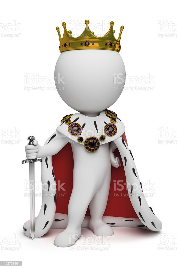 3d small people - king royalty-free stock photo