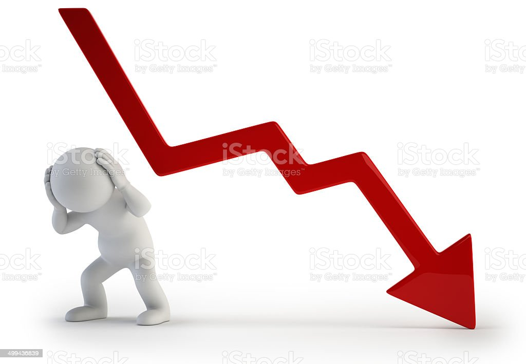 3d small people - negative graph stock photo