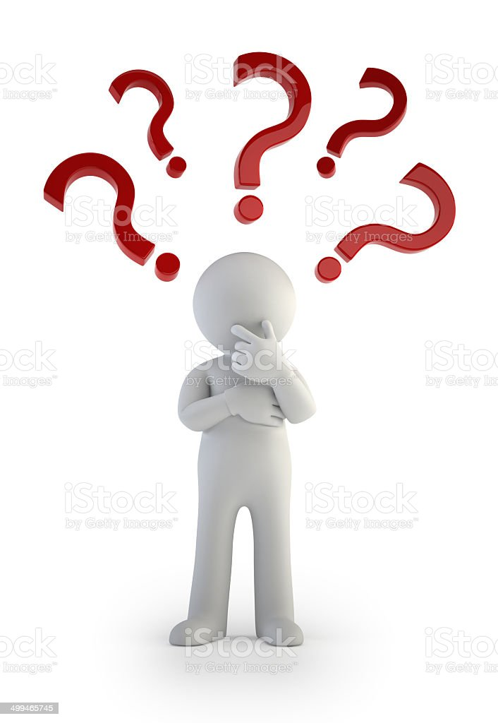 3d small people - Question mark. Confusion royalty-free stock photo