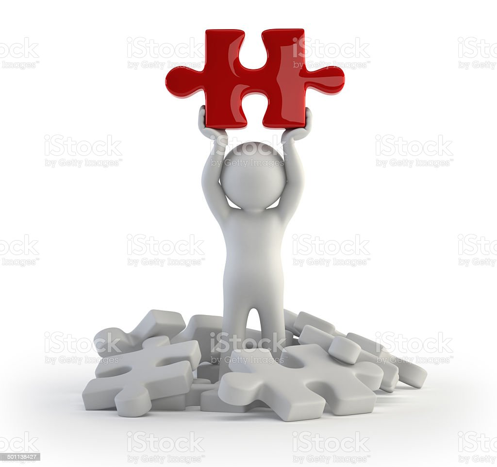 3d small people - red puzzle stock photo
