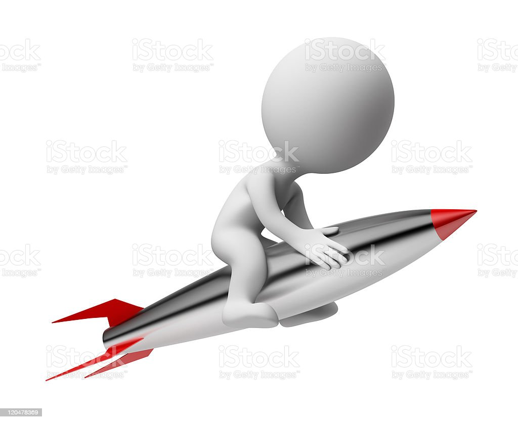 3d small people - rocket royalty-free stock photo