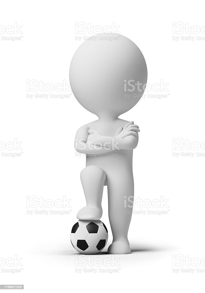 3d small people - soccer player with a ball royalty-free stock photo