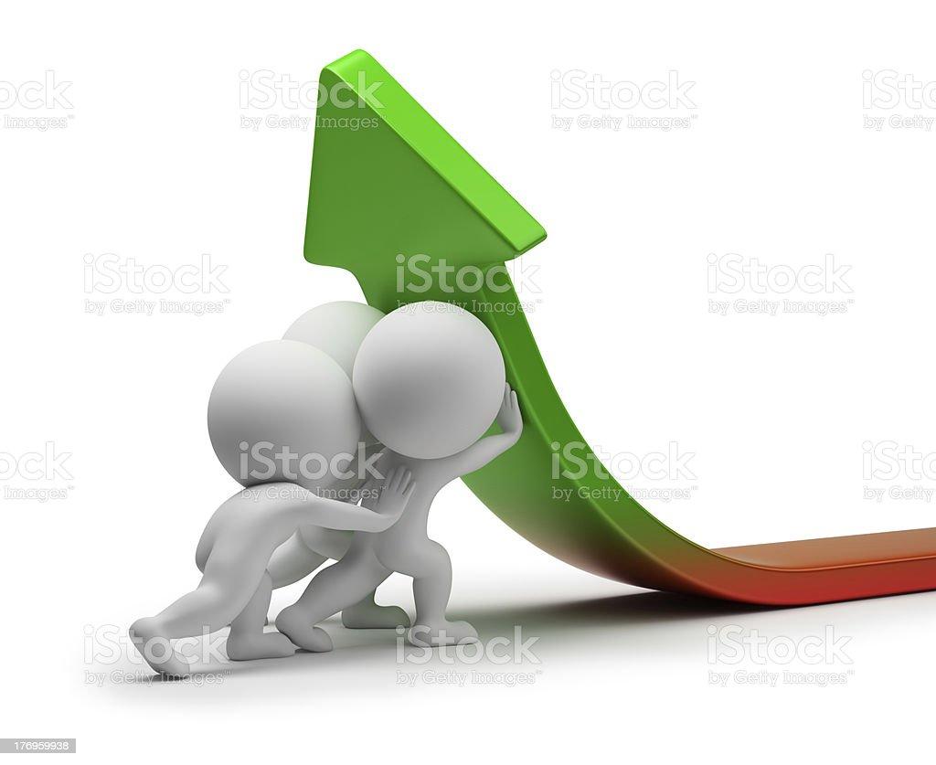 3d small people - statistics improvement royalty-free stock photo