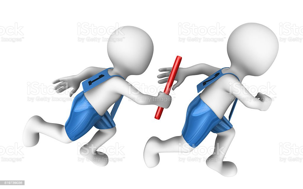 3d small people with baton. Relay stock photo