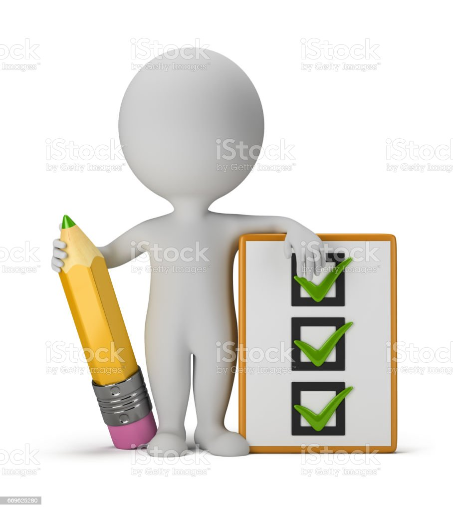3d small people with clipboard and pencil stock photo