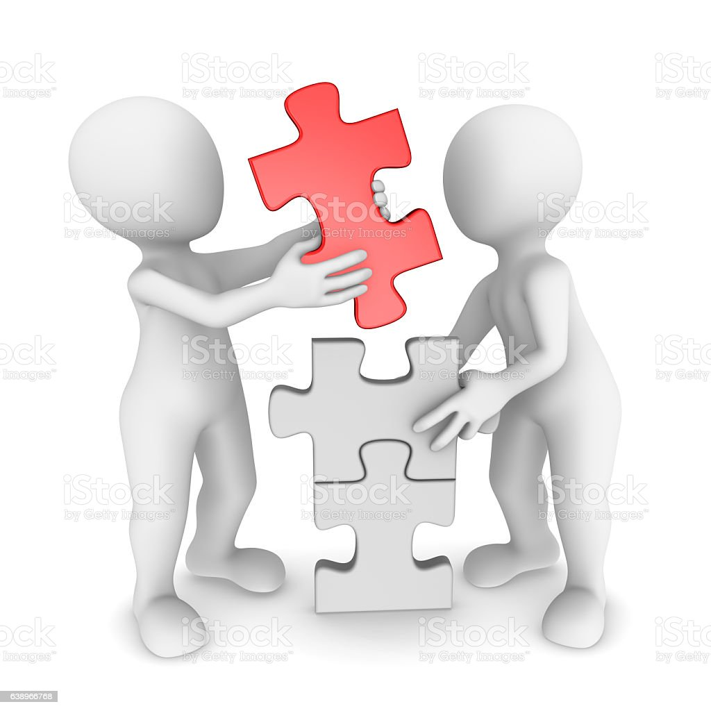 3 Cartoon Characters Always Together : D small people working together with puzzle stock vector