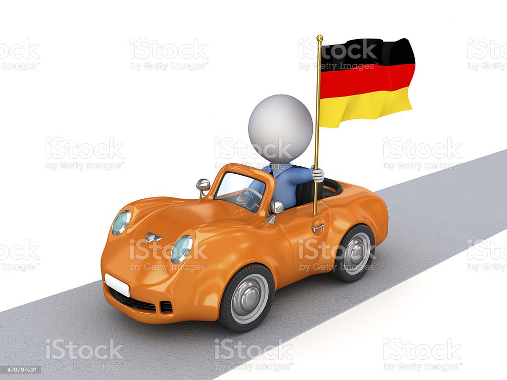 3d small person on orange car with German flag. royalty-free stock photo