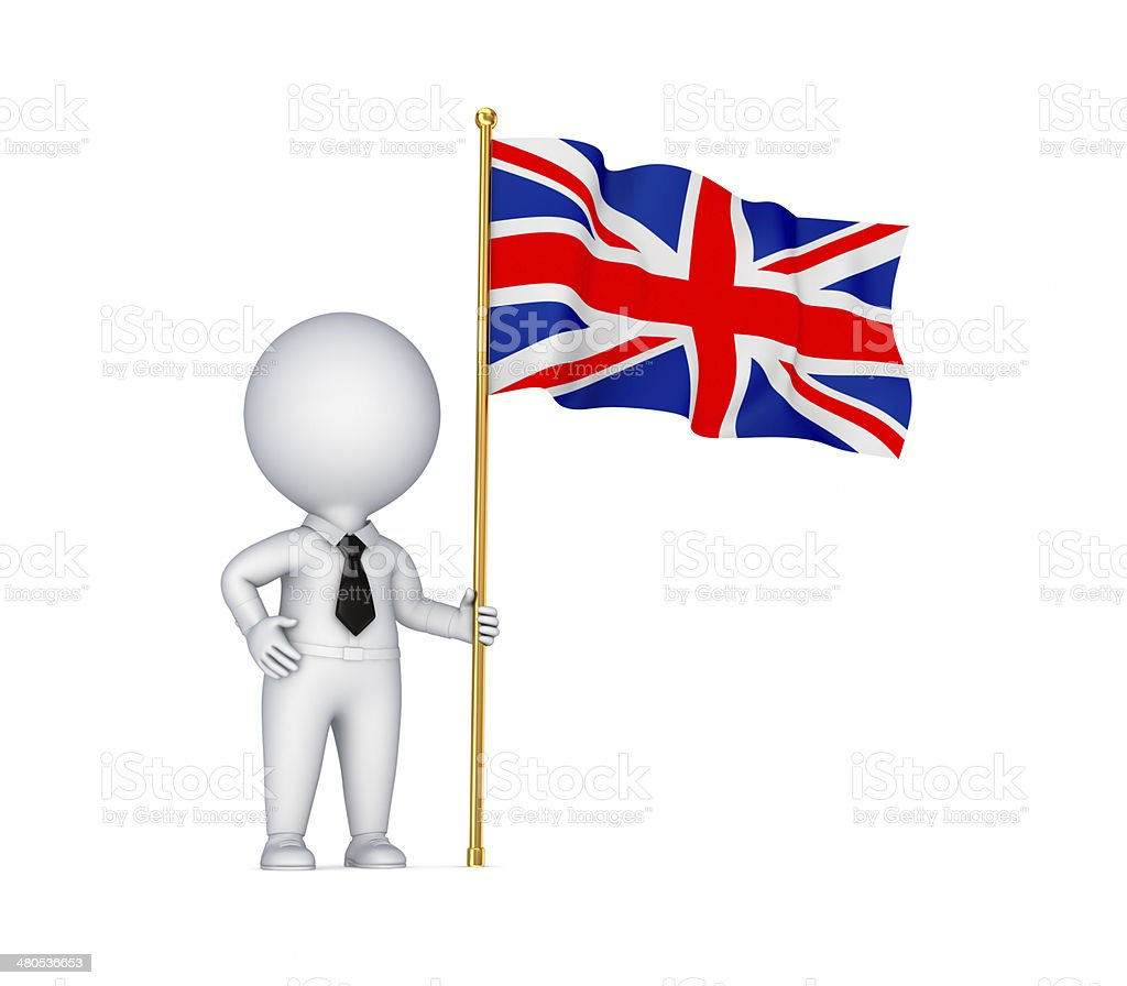 3d small person with a weaving british flag . royalty-free stock photo