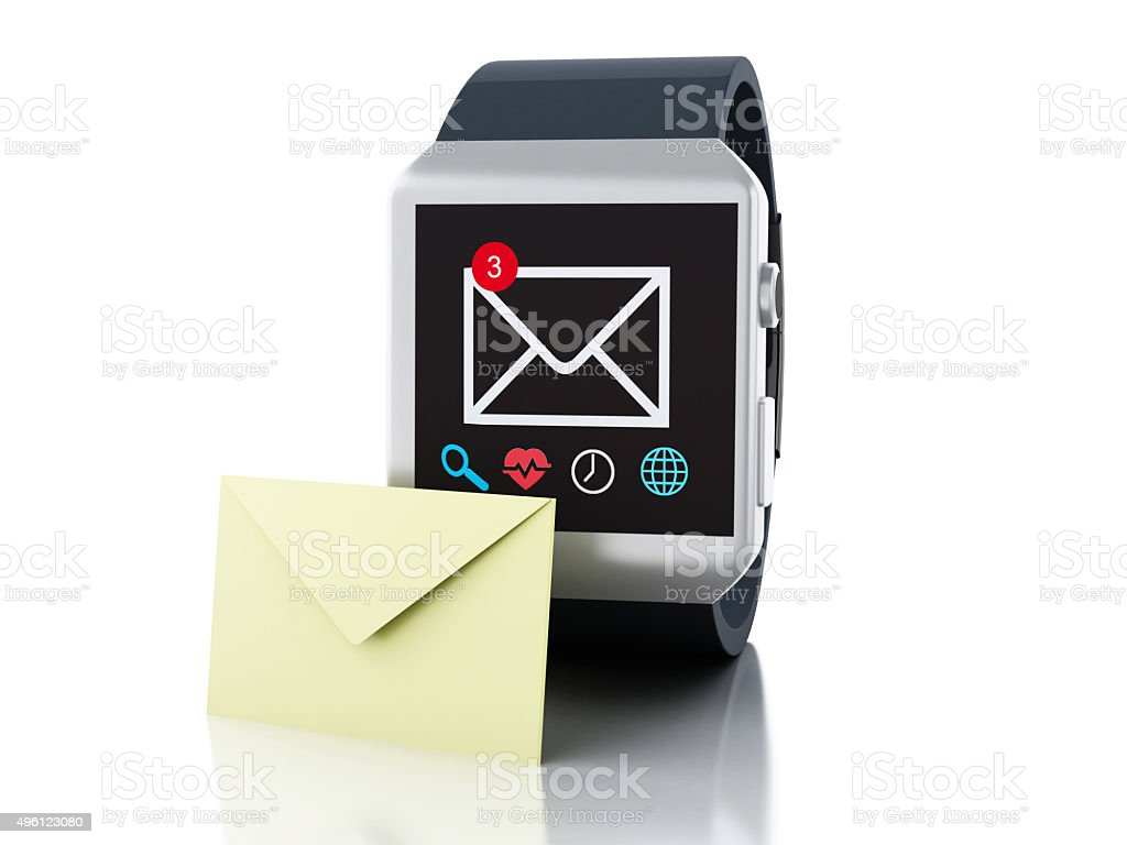 3d smart watch with unread message icon. Technology concept stock photo