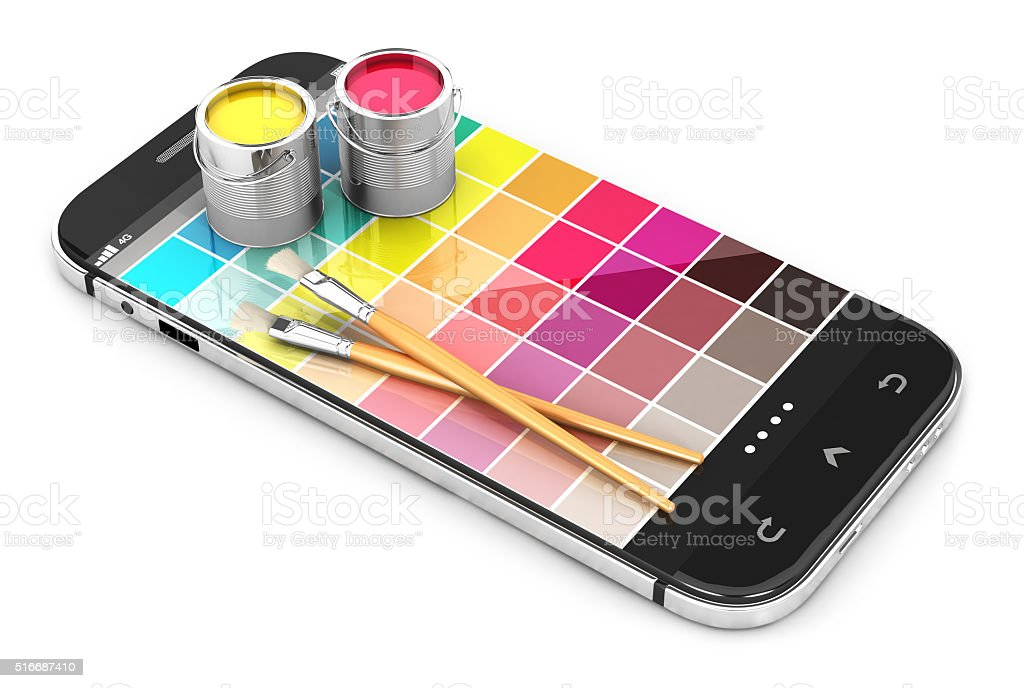 3d smartphone concept with color samples stock photo