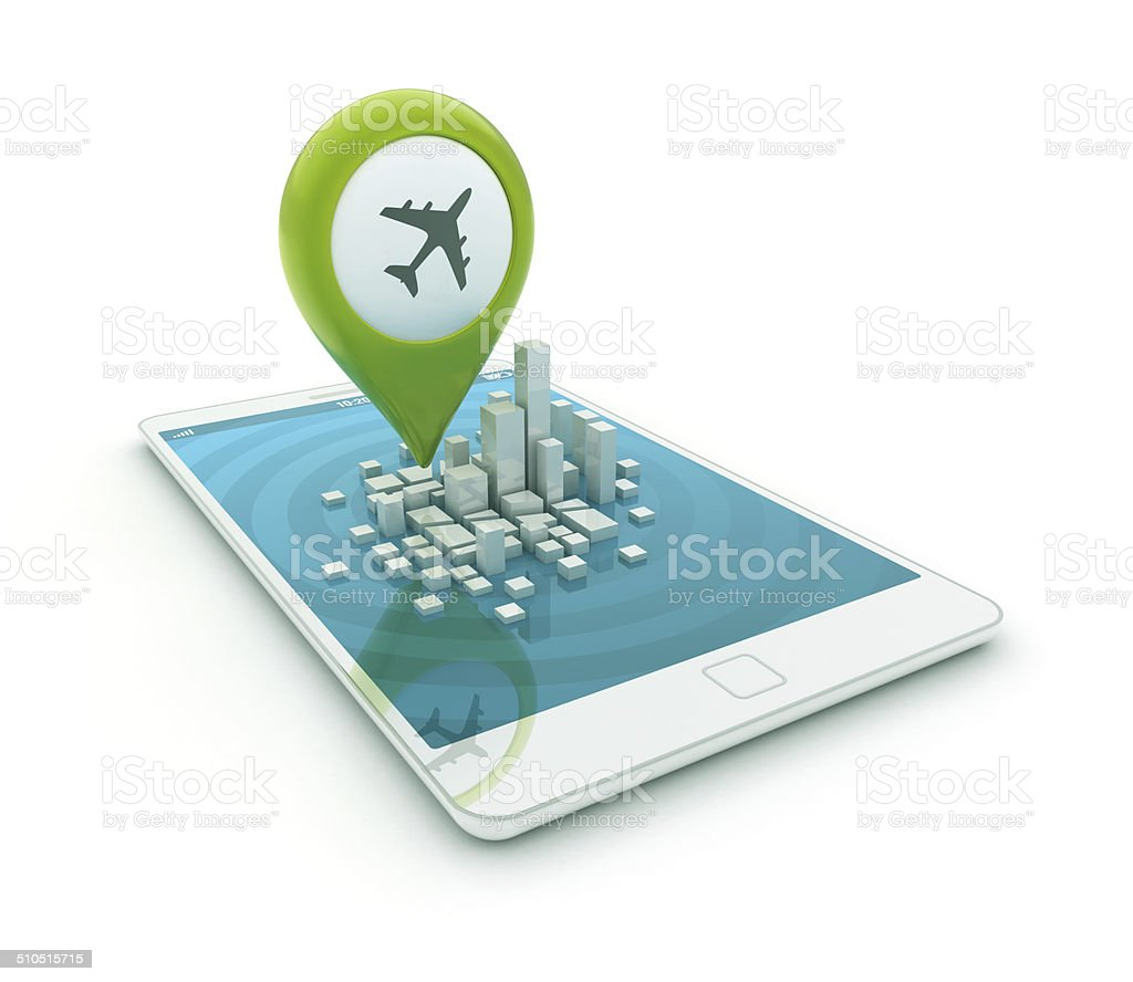 3d smartphone - Map pointer with plane icon stock photo