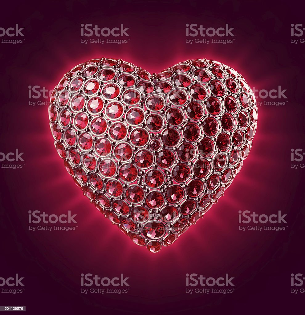 3d sparkling heart with ruby crystals, Valentines day clip art stock photo