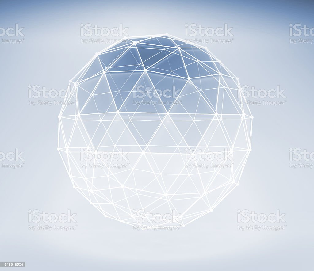 3d spherical object with lattice wire-frame mesh stock photo