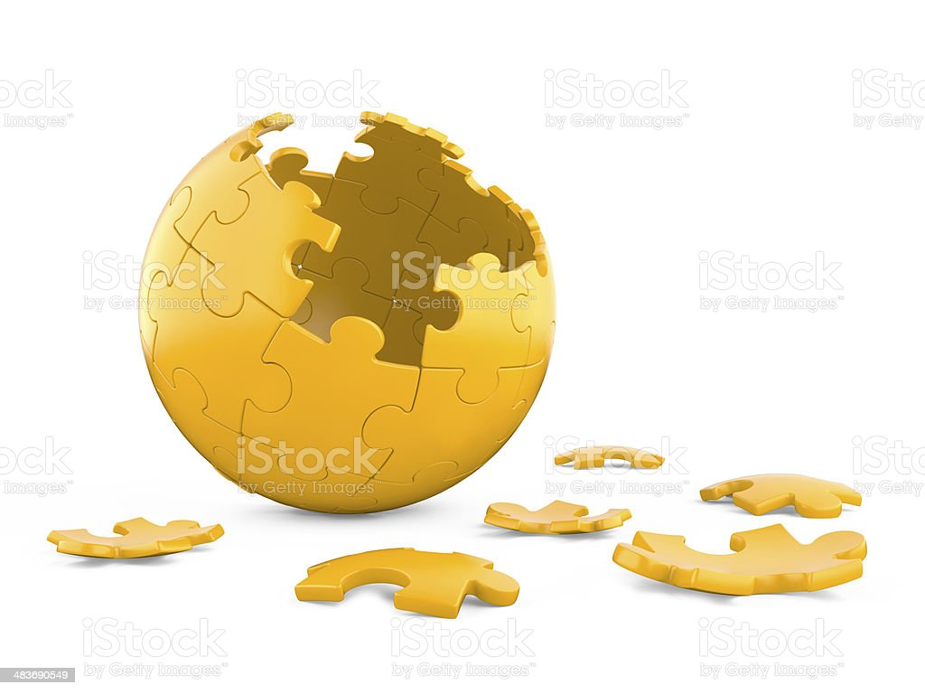 3d spherical puzzle with pieces missing. royalty-free stock photo
