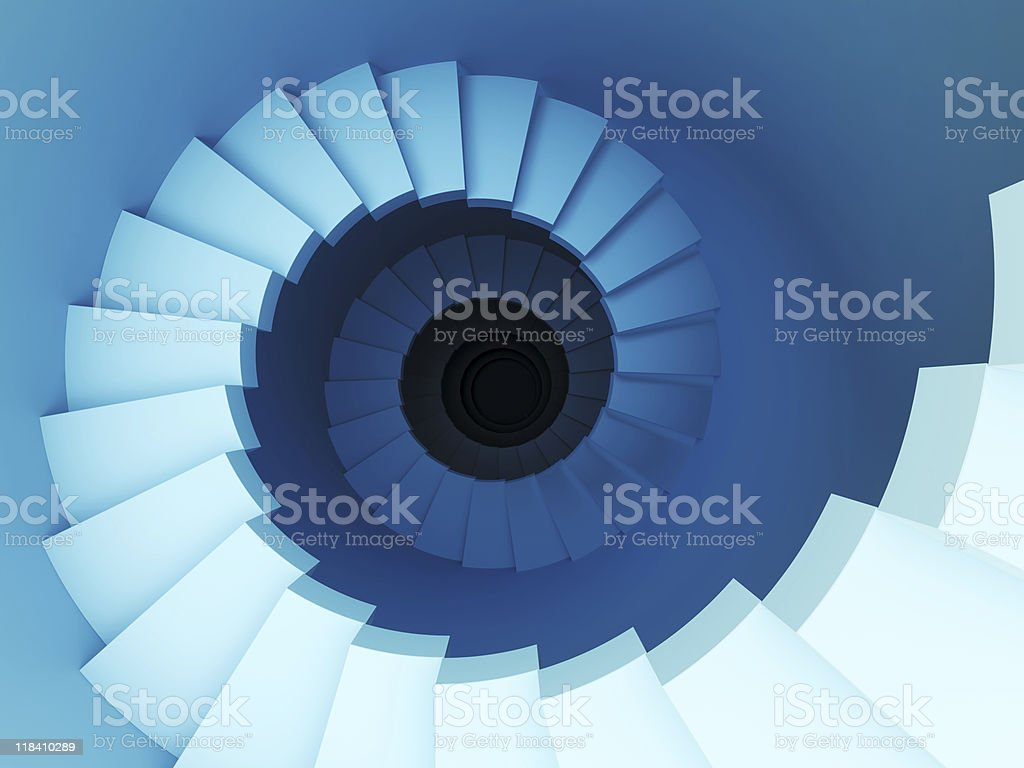 3d spiral staircase stock photo