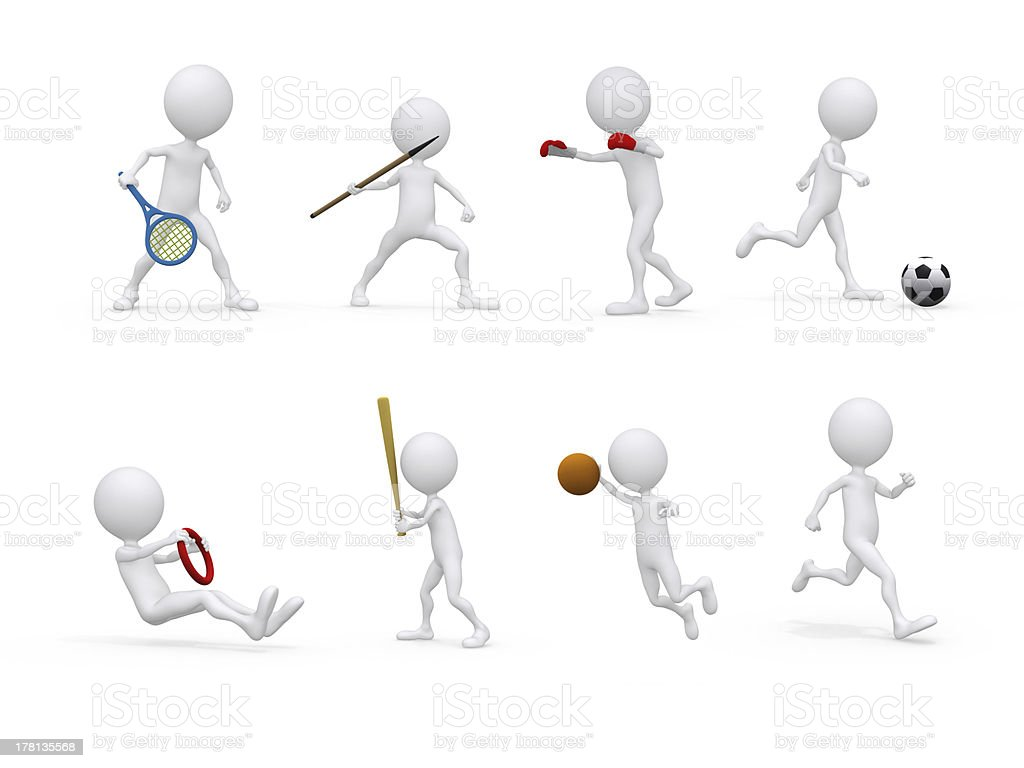 3d sports figure icon royalty-free stock photo
