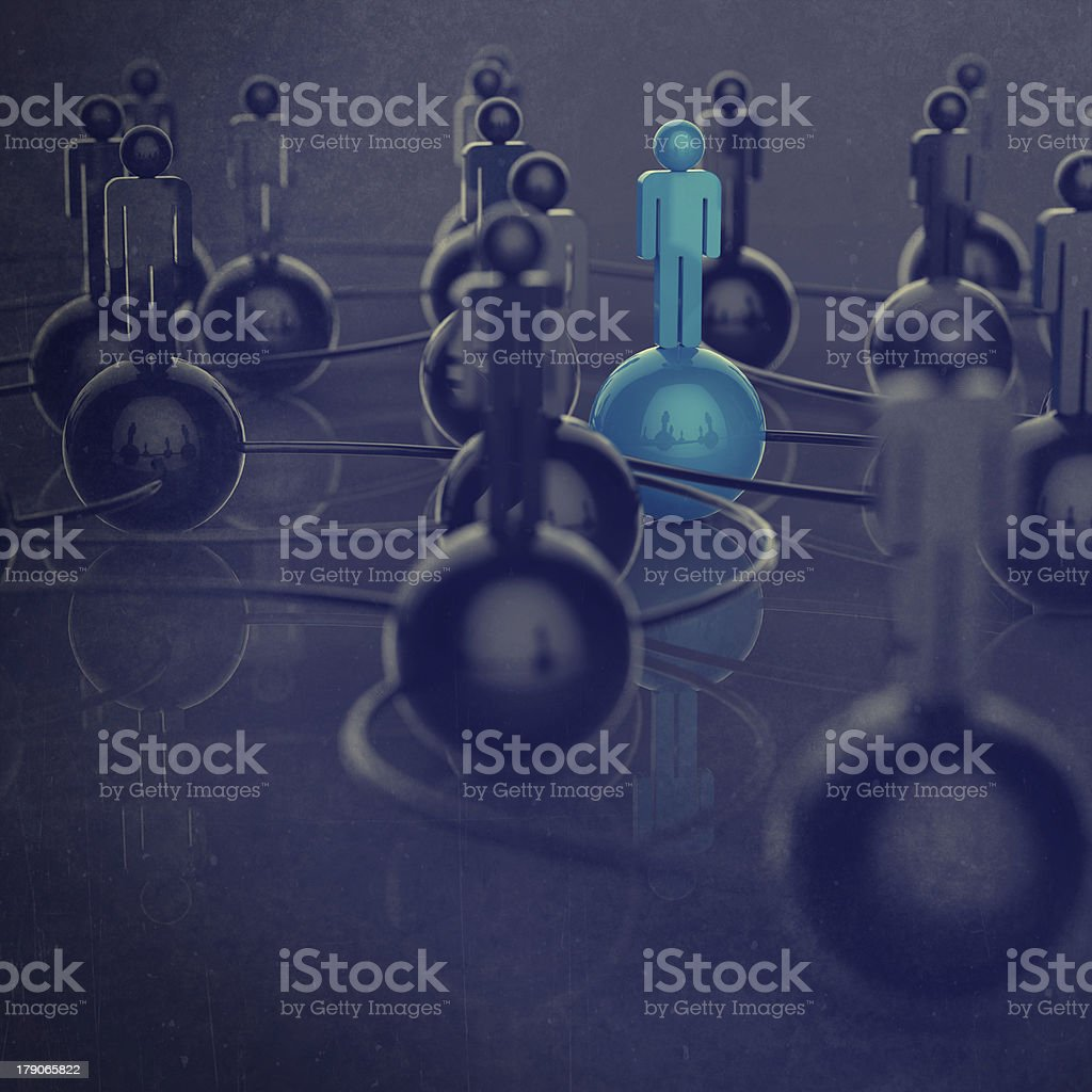 3d stainless human social network and leadership royalty-free stock photo