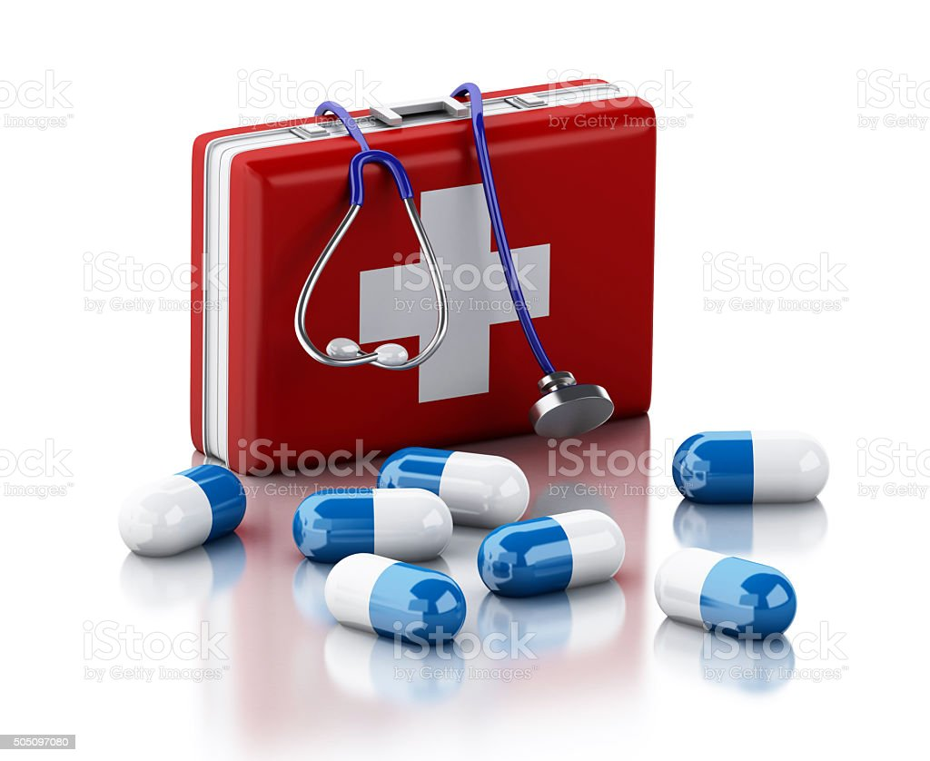 3d Stethoscope, pills and First Aid Kit. stock photo
