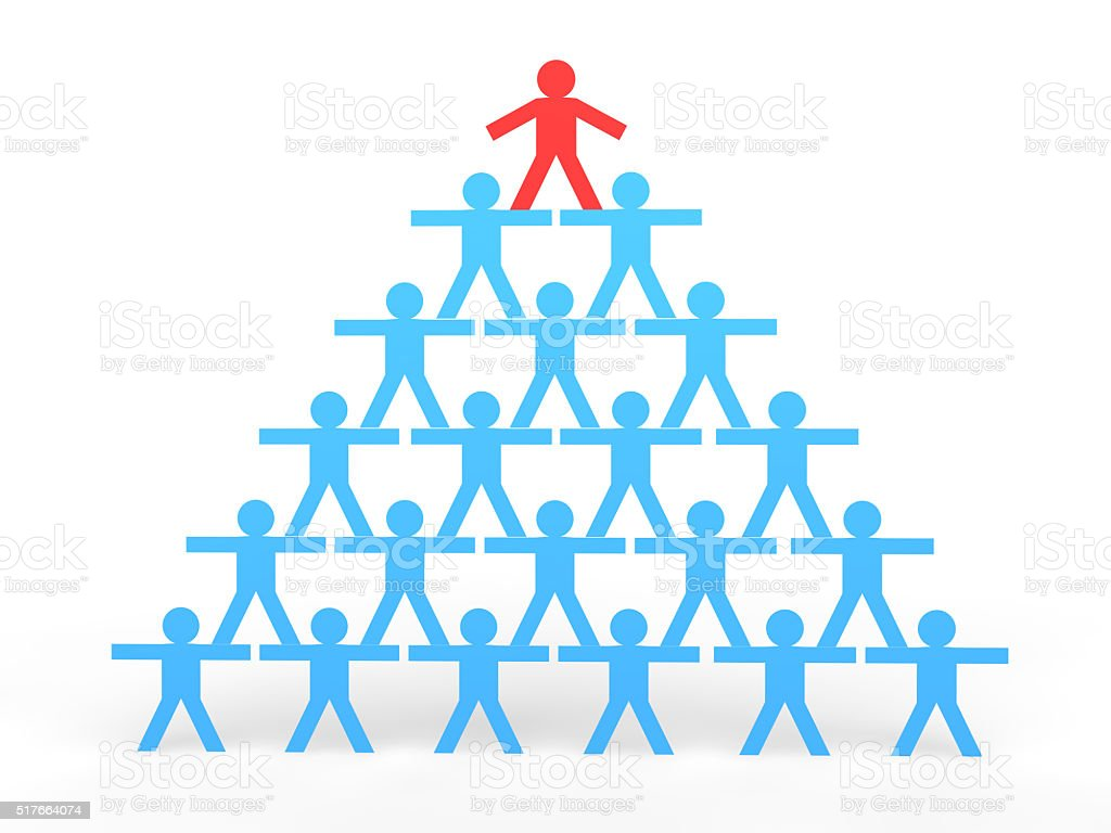 3d stick men making a human pyramid stock photo