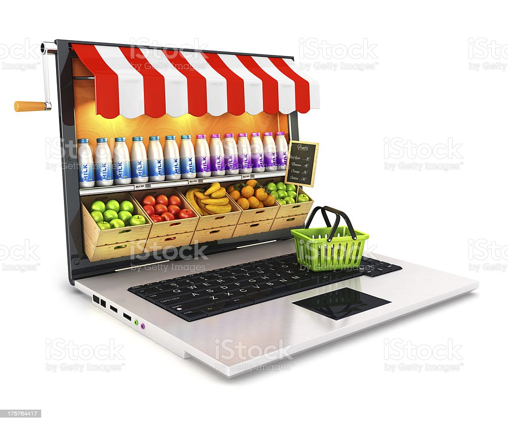 3d supermarket laptop royalty-free stock photo