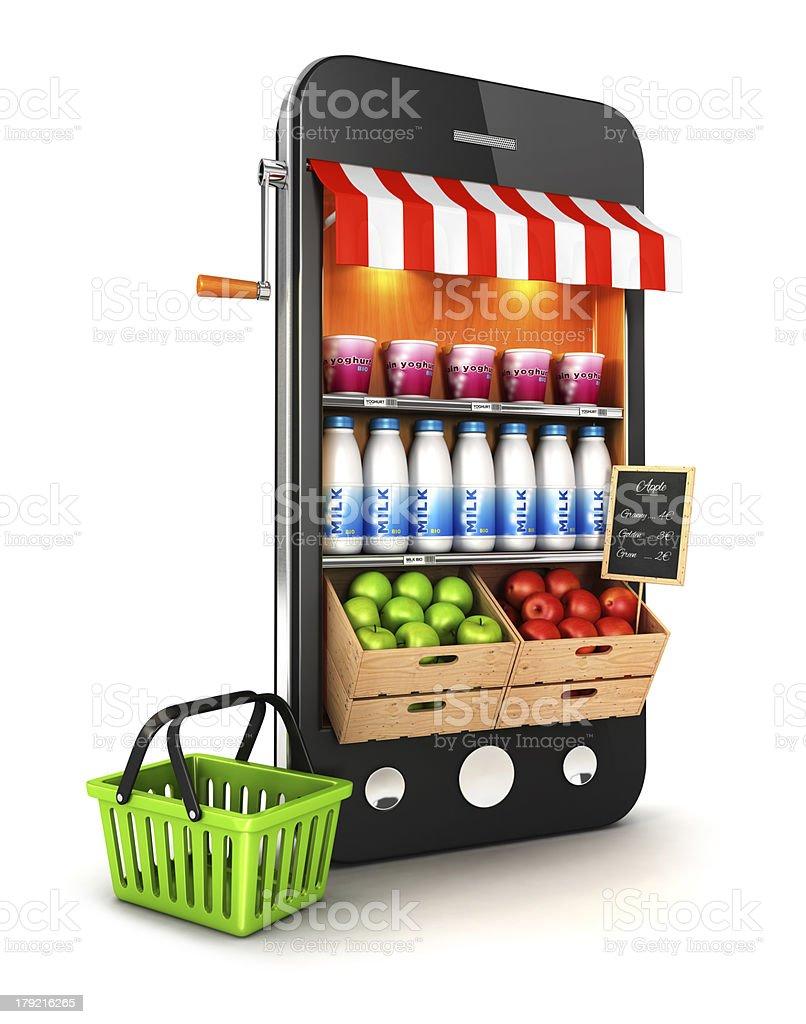3d supermarket smartphone stock photo