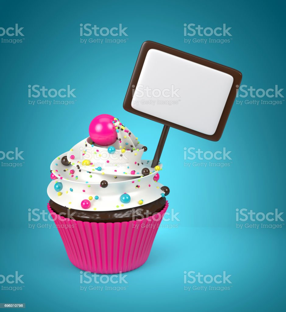 3d sweet cupcake with pearls isolated on white stock photo