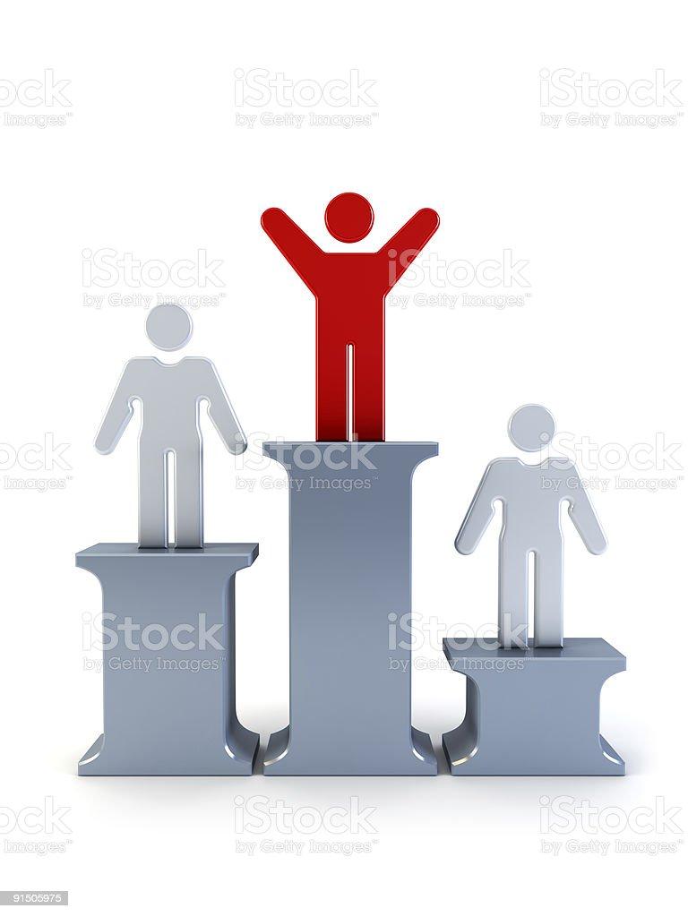 3d symbolic winner man on a pedestal royalty-free stock photo