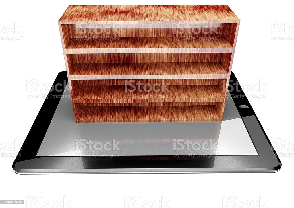 3d tablet pc and bookshelf royalty-free stock photo