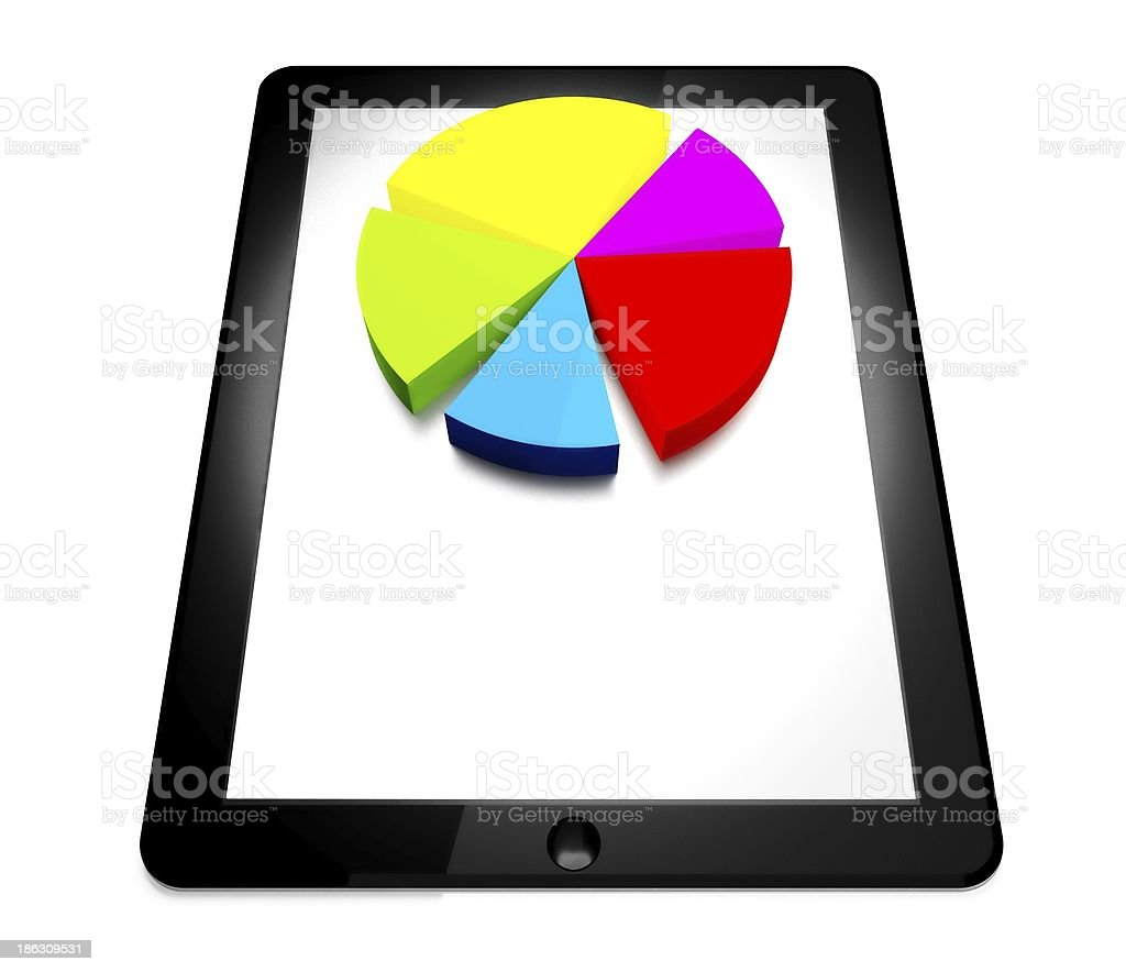 3d tablet pc, business diagram royalty-free stock photo