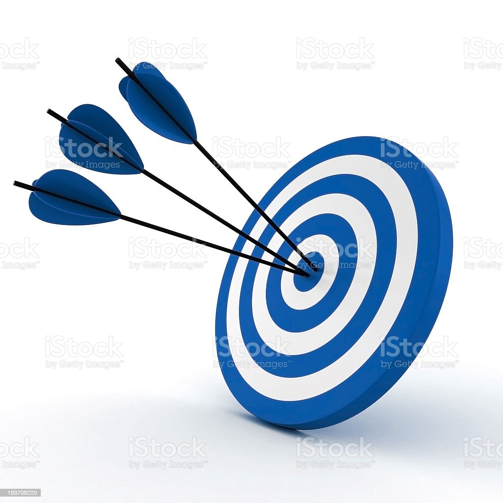 3d target and arrows, isolated on white royalty-free stock vector art