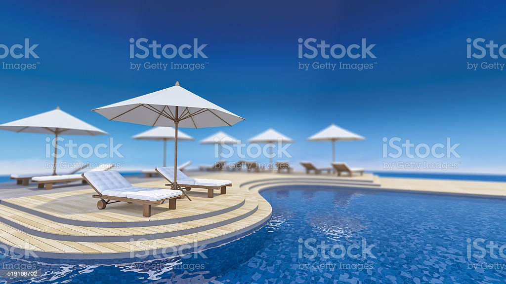 3d terrace sea view stock photo