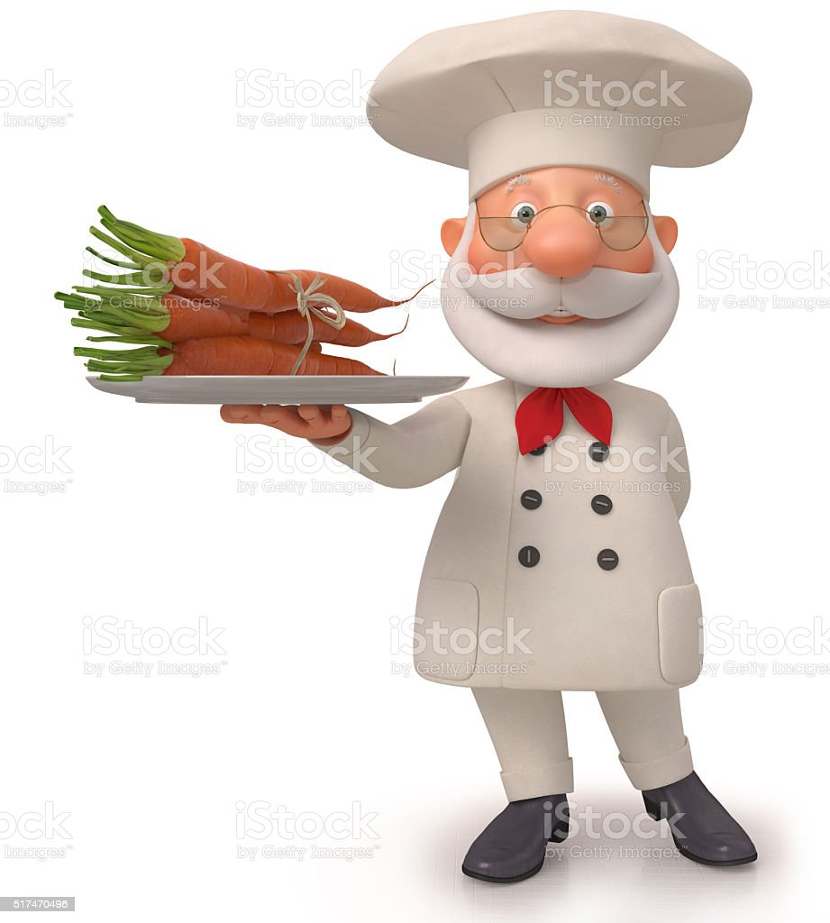 3d the cook with carrot stock photo