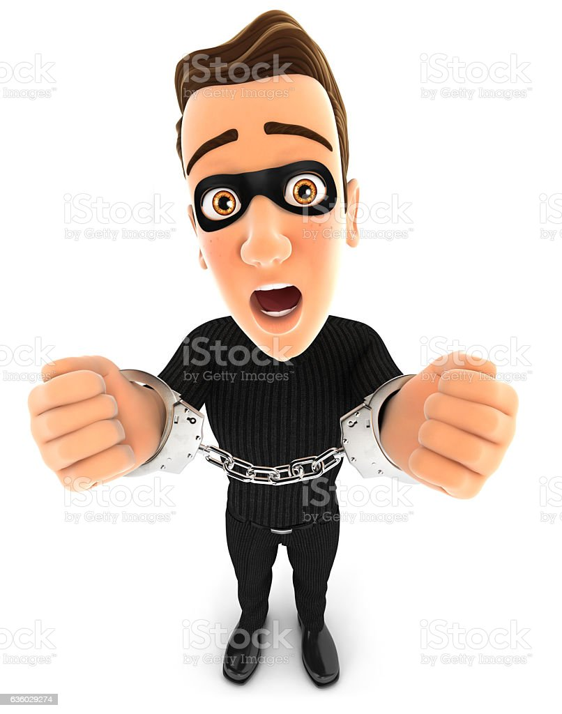3d thief under arrest and handcuffed stock photo