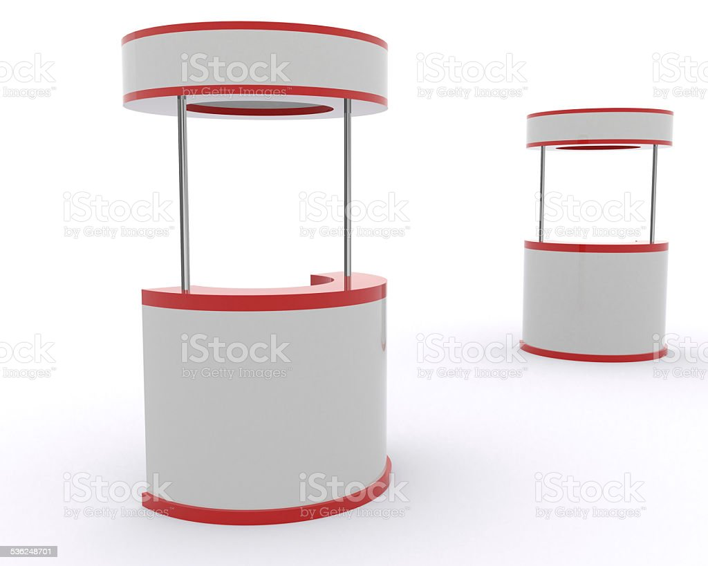 3d Trade Advertising Stand with counter stock photo